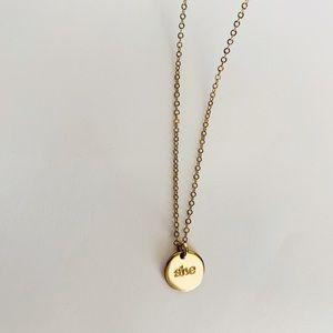 """SHE"" Pendant Necklace"